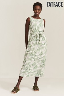 FatFace Natural Laurie Jungle Palms Midi Dress