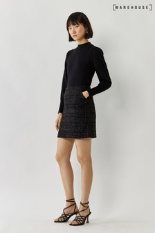 Warehouse Black Sparkle Check Skirt