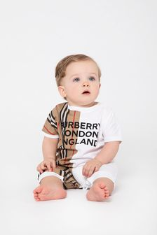 Burberry Kids Baby White Cotton  Romper