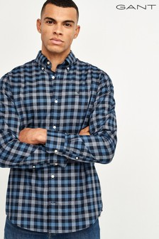 GANT Blue Tech Prep Oxford Heather Gingham Shirt