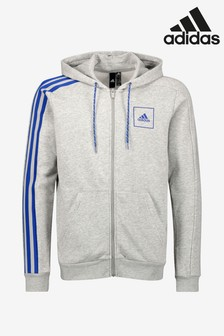 adidas 3 Stripe Tape Zip Through Hoody