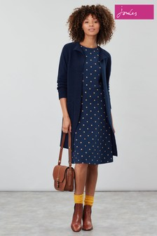 Joules Blue Shay Print Waisted Jersey Dress