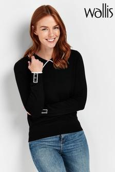 Wallis Black Contrast Collar Jumper