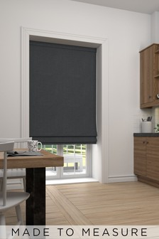 Made To Measure Charcoal Textured Roman Blind