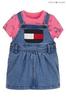 Tommy Hilfiger Baby Girls Blue Cotton Dress Set
