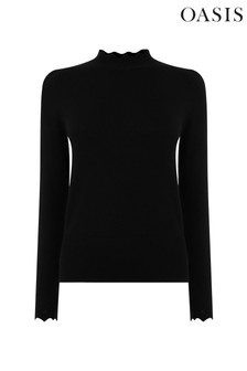 Oasis Bordeaux Adeline Mock Neck Jumper