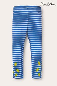 Boden Blue Fun Embroidered Leggings