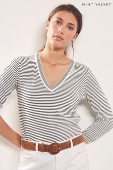 Mint Velvet Black Multi Stripe V-Neck Knit Jumper