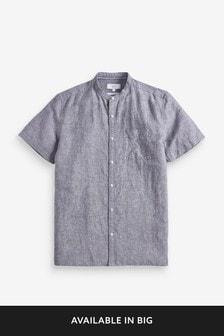Cotton/Linen Grandad Collar Shirt