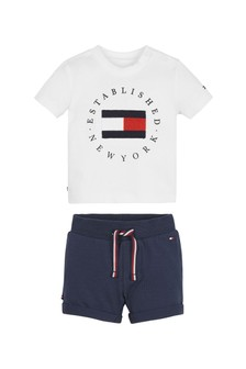 Tommy Hilfiger Baby White T-Shirt And Shorts Set