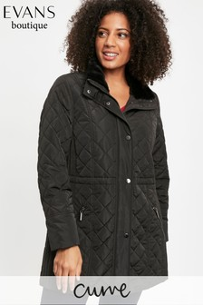 Evans Curve Black Faux Fur Padded Coat