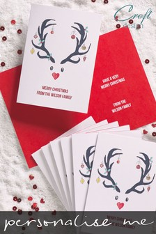 20 Pack Personalised Deer Christmas Card by Croft Designs