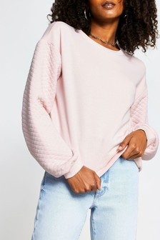 River Island Pink Medium Quilted Sleeve Sweater