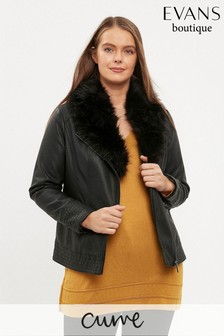 Evans Curve Black Faux Fur Trim Biker Jacket