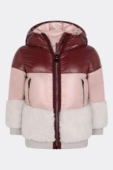 Girls Pink Down Padded Logo Jacket