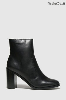 Red Or Dead Black Reece Leather Square Toe Boots