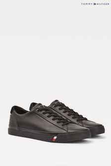 Tommy Hilfiger Black Corporate Leather Trainers