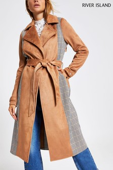 River Island Camel Check Mix Trench Jacket