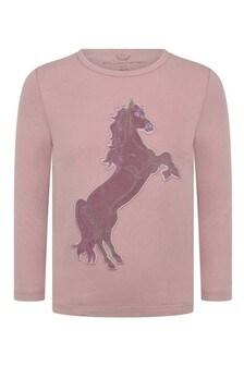Girls Peach Horse Long Sleeve T-Shirt