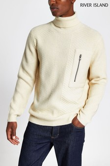 River Island Ecru Midweight Roll Neck Jumper
