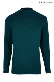 River Island Green Deep Teal Turtle Jersey Top