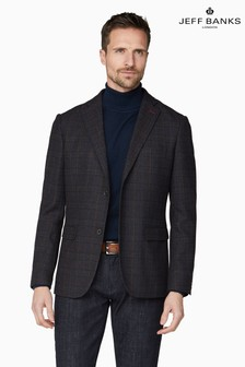 Jeff Banks Brown Men's Tailored Fit Check Blazer