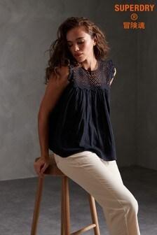 Superdry Navy Ellison Textured Lace Vest