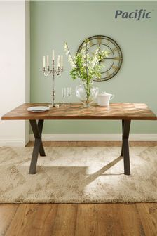 Pacific Lifestyle Recycled Wood Copper Metal Mix Dining Table K/D