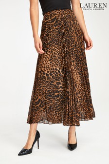 Lauren Ralph Lauren® Leopard Pleated Vanetta Skirt