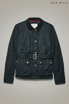 Jack Wills Navy Robertson Printed Lined Wax Jacket