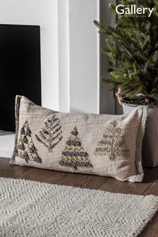 Fir Trees Embroided Cushion by Gallery Direct