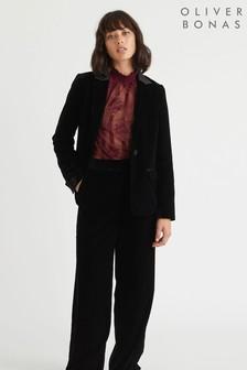 Oliver Bonas Black Velvet Trousers