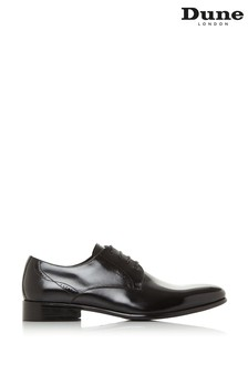 Dune London Strive Black Leather Punch Detail Derby Shoes