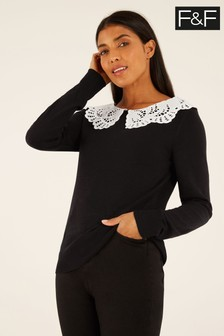 F&F Black 2-In-1 Broderie Collar Jumper