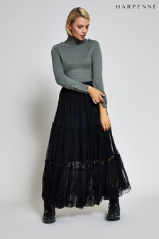 Harpenne Black Star Embroidered Maxi Skirt