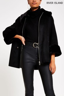 River Island Black Suedette Cape Jacket