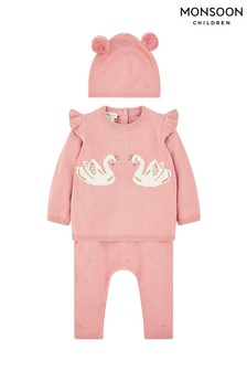 Monsoon Children Pink New Born Baby Petra Knit Set