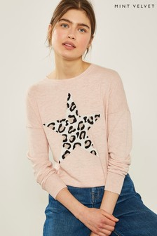 Mint Velvet Pink Animal Star Front Knit