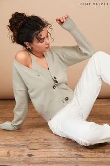 Mint Velvet Sage Green Buttoned Cardigan