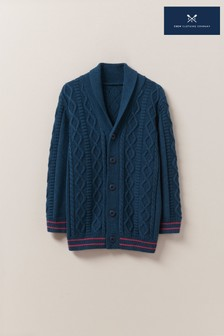 Crew Clothing Blue Shawl Neck Cardigan