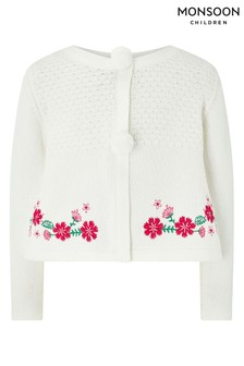 Monsoon Children White S.E.W. Baby Paige Cardigan