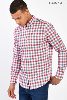 GANT Red Tech Prep Oxford Heather Gingham Shirt