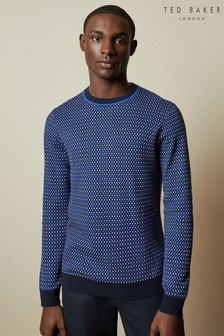 Ted Baker Blue Cambra Checked Crew Neck Jumper