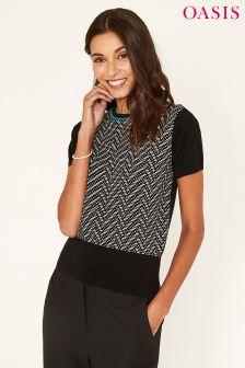 Oasis Black Green House Jacquard Chevron Knit