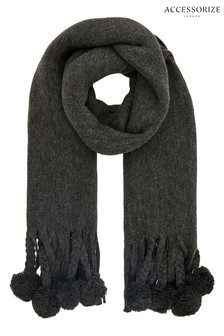 Accessorize Grey Pom Pom Tassel Brushed Scarf
