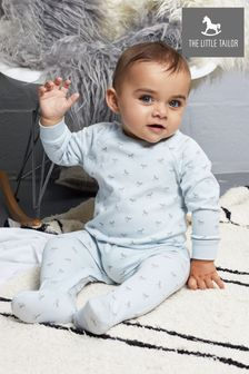 The Little Tailor Blue Jersey Print Rocking Horse Sleepsuit