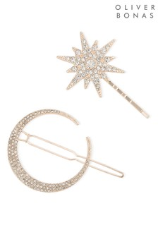 Oliver Bonas Luna Moon & Starburst Stone Hair Clips Two Pack