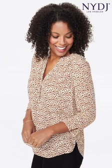 NYDJ Animal Bobcat Print Popover Blouse