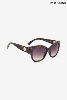 River Island Tortoise Lula Spliced Glam Sunglasses