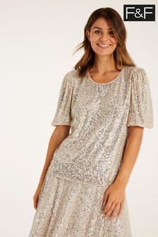 F&F Silver Sequin Puff Sleeve Top